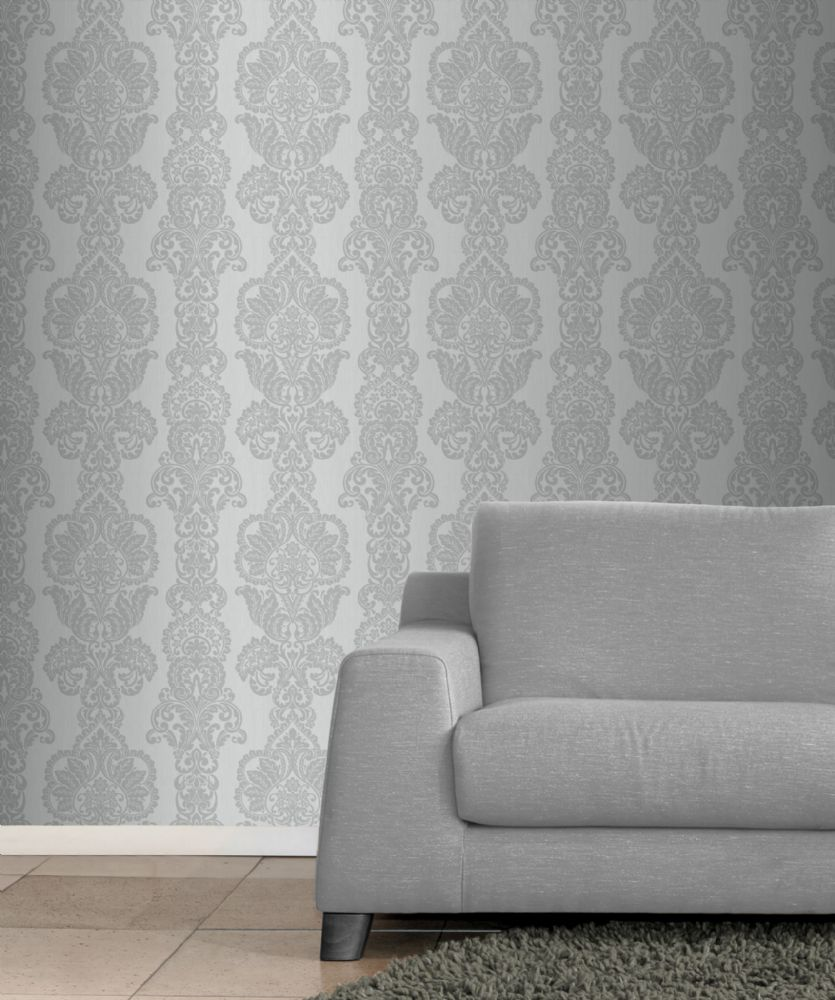 Fine Decor Rochester Damask Grey/Silver FD40898 Wallpaper